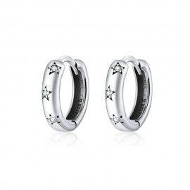 Silver earrings Sparkling star