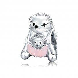 Zilveren bedel Moeder egel