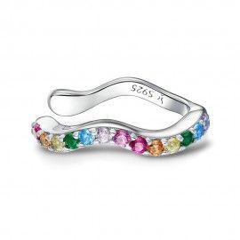 Silver earring Rainbow 1 piece