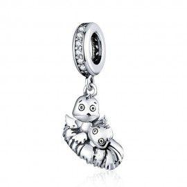 Sterling silver pendant charm Bird in nest