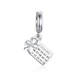 Sterling silver pendant charm Lucky clover calendar