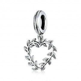 Zilveren hangende bedel Hart met bladeren