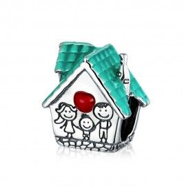 Sterling silver charm Family house