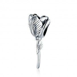 Zilveren bedel Tulp