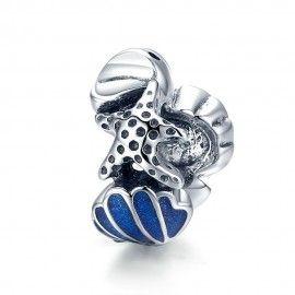 Charm in argento Conchiglia con stelle marine