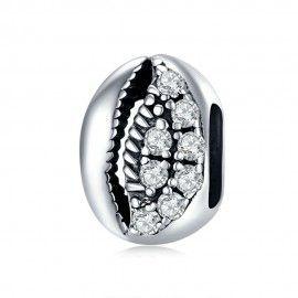 Zilveren bedel Sprankelende schelp