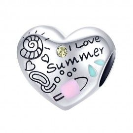 Sterling silver charm I love summer