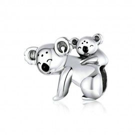 Zilveren bedel Baby koala en mamma