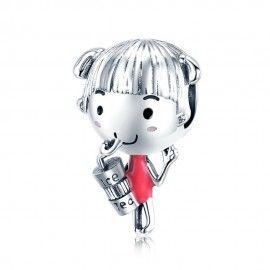 Zilveren bedel Meisje met ice tea