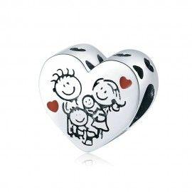 Zilveren bedel Familie hart