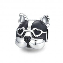 Sterling silver charm Love bulldog