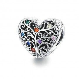 Zilveren bedel Levensboom in een hart