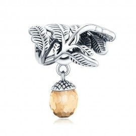 Sterling silver pendant charm Lucky pine cone