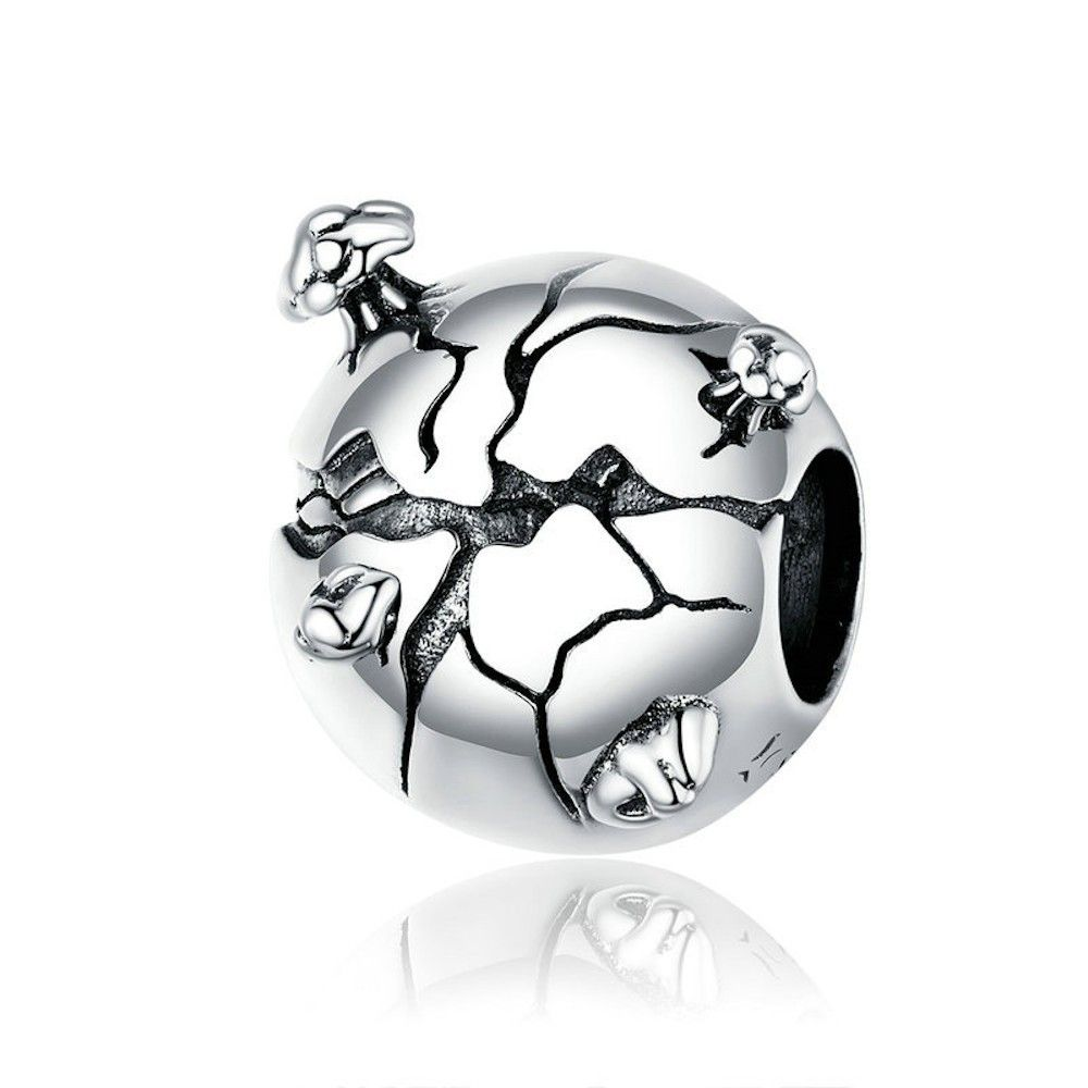 Sterling silver charm Protect the earth