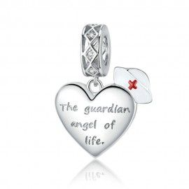 Sterling silver pendant charm Guardian angel of life