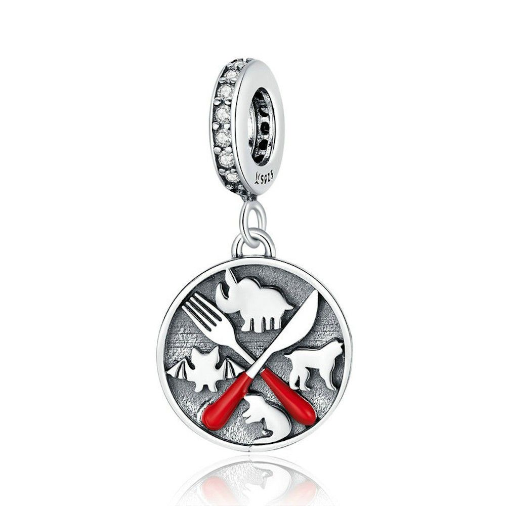 Sterling silver pendant charm Don't eat wild animals