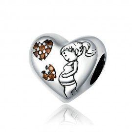 Zilveren bedel Moederliefde