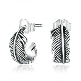 Silver earrings Feather