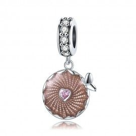 Sterling silver pendant charm Glistering flowers