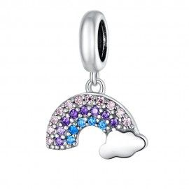 Sterling silver pendant charm Rainbow with cloud