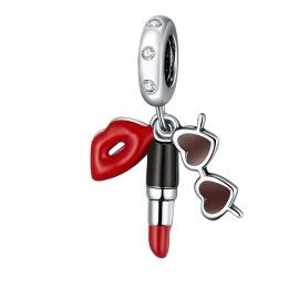 Sterling silver pendant charm Lipstick and sunglasses