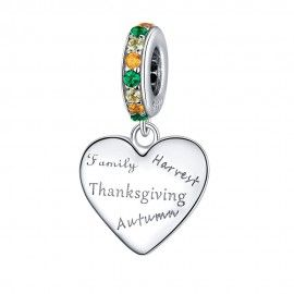 Sterling silver pendant charm Thanksgiving  love