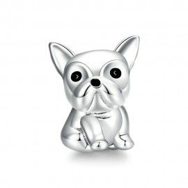 Sterling silver charm Cute bulldog