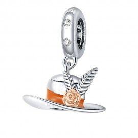Zilveren hangende bedel Hoge hoed