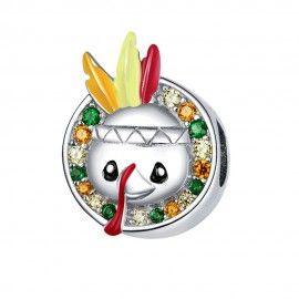 Zilveren bedel Thanksgiving - kalkoen