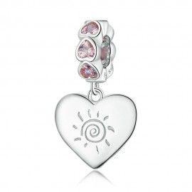 Zilveren hangende bedel Zonneschijn hart