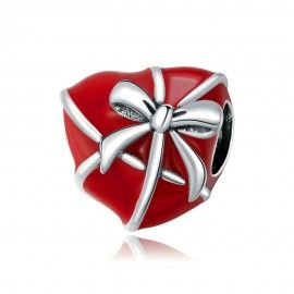 Sterling silver charm Gift box heart