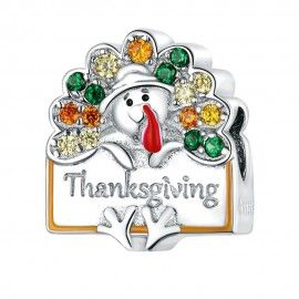 Sterling silver charm Happy Thanksgiving
