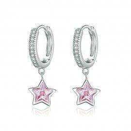 Zilveren oorbellen Roze sterren