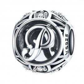 Charm alfabeto in argento lettera P con pietre di zirconia