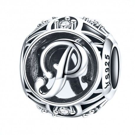 Sterling silver alphabet charm with zirconia stones letter P