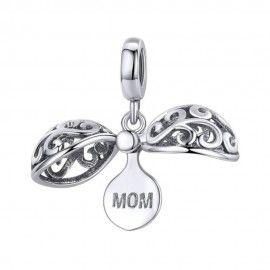 Zilveren hangende bedel Mamma geschenkdoos