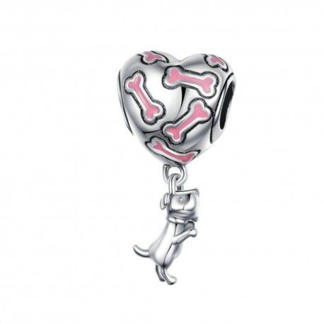 Sterling silver pendant charm Love puppy
