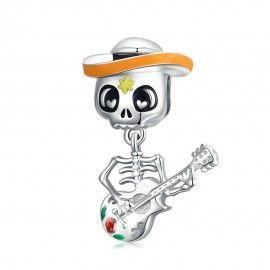 Charm pendente in argento Teschio con chitarra