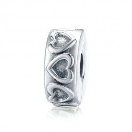 Sterling silver charm Vintage heart pattern