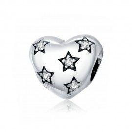 Zilveren bedel Hart met sterren