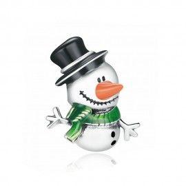Zilveren bedel Kleine sneeuwpop