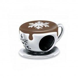 Zilveren bedel Winter koffie