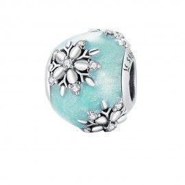 Zilveren bedel Bal met glanzende sneeuwvlokken