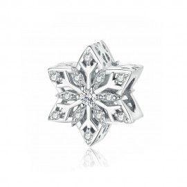 Zilveren bedel Heldere sneeuwvlok