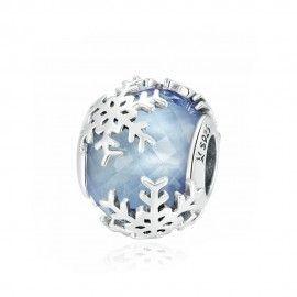 Zilveren bedel Kristallen sneeuwvlok