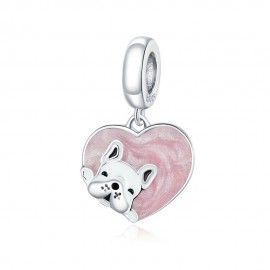 Sterling silver pendant charm Puppy with heart