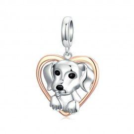 Zilveren hangende bedel Puppy