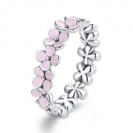 Anello in argento sterling Corona floreale rosa