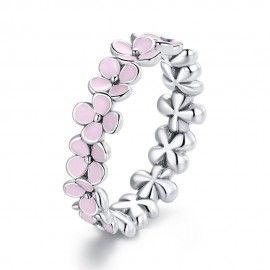 Anillo de plata de ley Corona floral rosa