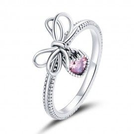 Sterling silver ring Bow and heart